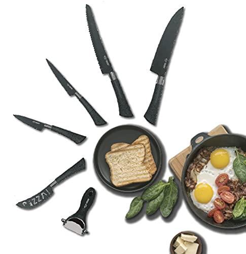 Royal Swiss - Juego de cuchillos de cocina profesional (5 cuchillos de cocina profesionales de cerámica y pelador de 6 piezas)