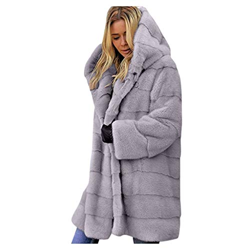 iYYVV Womens Winter Warm Plush Imitation Fur Coat Long Jacket Hooded Parka Overcoat Gray