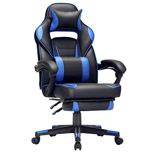 SONGMICS Racing Gaming Chair with Footrest, Tilt Mechanism, Lumbar Support, 330 lb Load, 26.4 x 26 x (45.7-49.6) Inches, Black and Blue