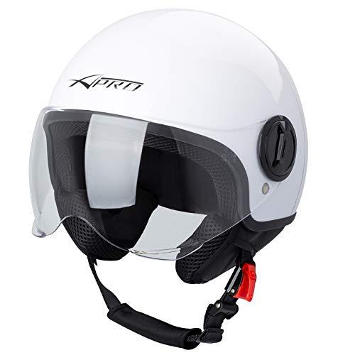 casco scooter a pro Casco Jet Demi Urban Moto Omologato ECE 22 Visiera Avio Sferica SonicMoto Bianco M