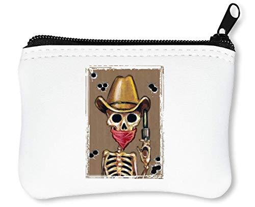 Cowboy Skeleton Horror Collection Guns Bones Western Style Billetera con Cremallera Monedero Caratera