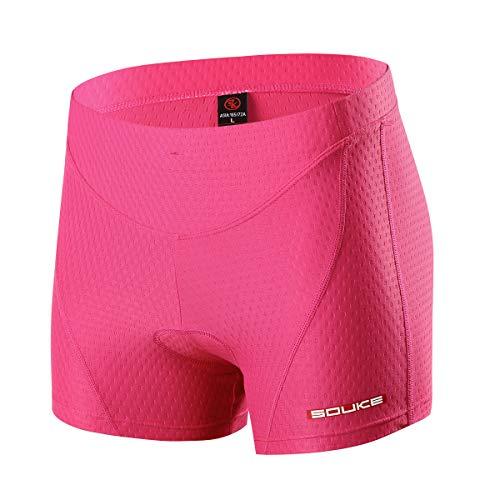 Souke Sports Pantalon Corto Ciclismo Mujer 4D Acolchado, Pantalones Corto Bicicleta Mujer, Pantalones Cortos De Ciclism Transpirables Antideslizante