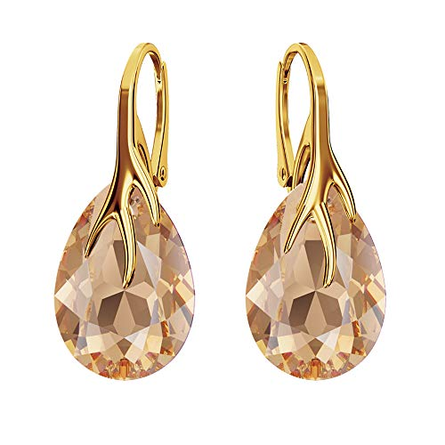 Gold-Plated 24 K 925 Sterling Silver Earrings with Swarovski Crystals – Claw Pear – Many Colours – Earrings for Women – Beautiful Jewellery for Women with Gift Box Light Col Topaz