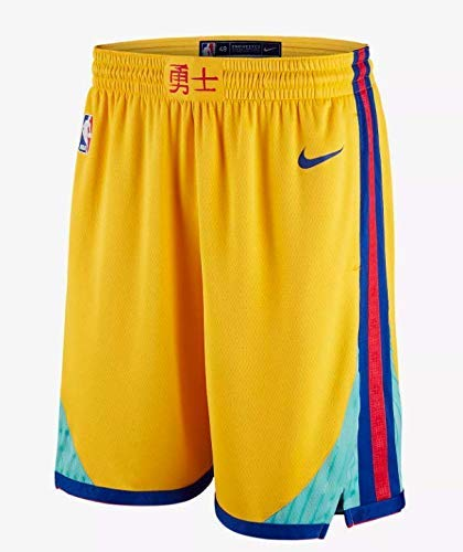 Lalagofe Golden State Warriors Shorts, Pantaloncini Gialli, Stephen Curry, Kevin Durant (M, Giallo)
