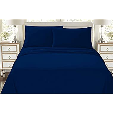 HC COLLECTION-Premium 1500 Series Bed Sheets Set, Hotel Quality Luxury Soft Brushed Microfiber 4 Piece Bedding Set, Deep Pocket, Hypoallergenic, Wrinkle & Fade Resistant (Queen,Navy)