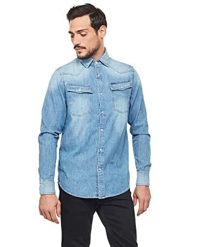 G-STAR RAW 3301 Straight Long Sleeve Camisa Vaquera, Azul (Medium Aged D013-071), XS para Hombre