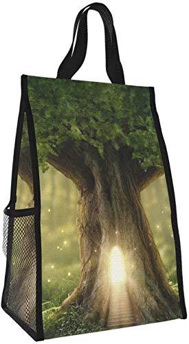 Bolsa de aislamiento plegable, bolsa de almuerzo portátil de árbol brillante, bolso de picnic de gran capacidad para viajes de oficina de trabajo