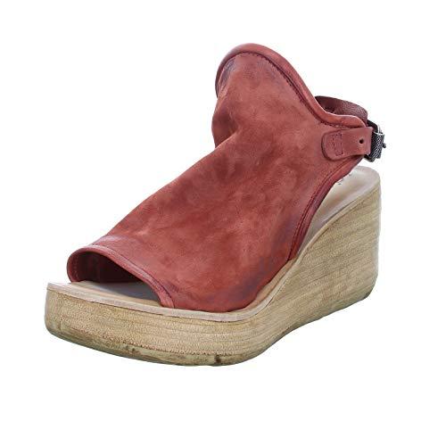 A.S.98 Damen Sandalette 528055 Peeptoe Ledersandale mit Fersenriemchen Rot (Ginger) Größe 37 EU