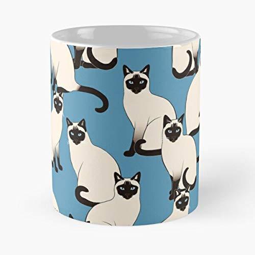 Taza de café de cerámica con diseño de gatos siameses, tailandeses, comen alimentos y bocadillos, John Best de 315 ml