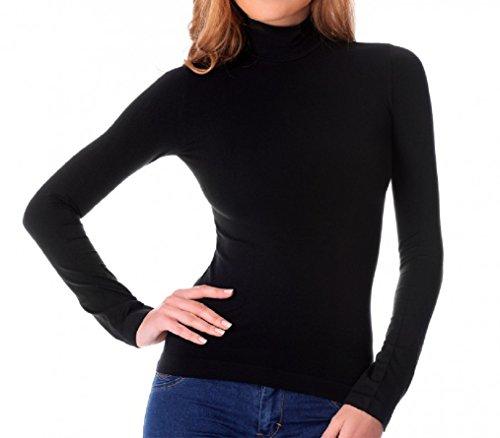 Fair Maglia Donna Lupetto Termico Invernale Collo Alto Slim Fit Interno Felpato Nero KA22 (M/L)