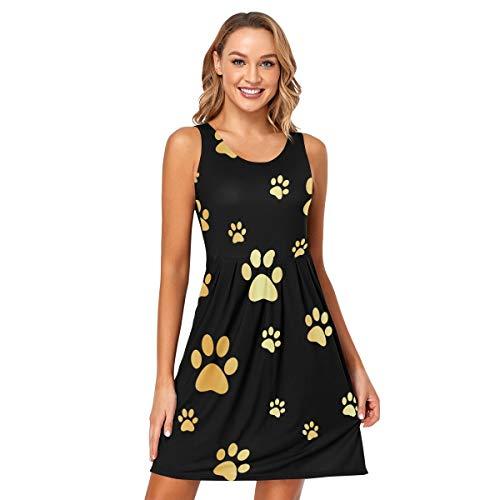 DOMIKING Vestido sin mangas para mujer, diseño de huellas doradas, para verano, sexy, sin mangas, talla S