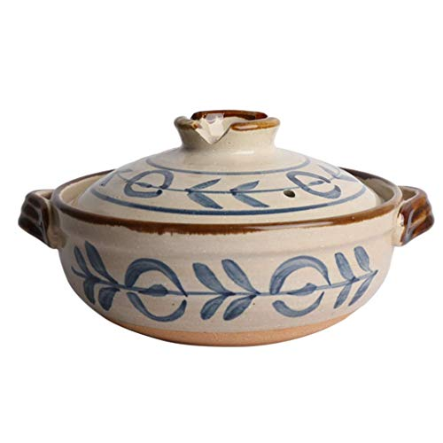 DZX Japanischer Keramik-Hot Pot Auflauf Bank Tontopf runder Topf hitzebeständiger Suppentopf Slow Cooker für Reiseintopf C 0,8 l, Terrakotta-Ton-Eintopf