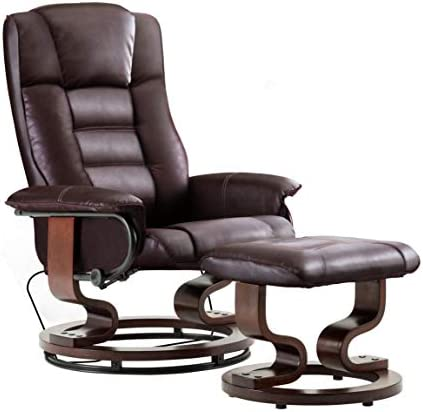 Best Mcombo Leather Swiveling Recliner Chair with Wrapped Wood Base and Matching Ottoman Footrest, Furnit