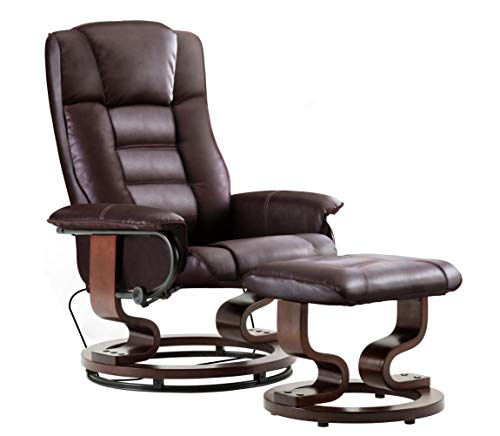 Mcombo Leather Swiveling Recliner Chair with Wrapped Wood Base and Matching Ottoman Footrest, Furniture Casual Chair, 9019 (Dark Brown)