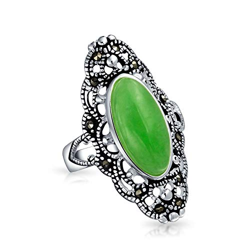 Antiqued Vintage Style Oval Dyed Green Jade Armor Full Finger Filigree Statement Ring For Women Marcasite 925 Sterling Silver