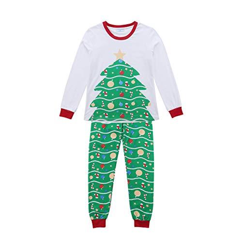 Pijama Familiar de Navidad Conjunto Pelele de 2 Piezas para Familia con Impresión de Árbol de Navidad Ropa Traje de Cuerpo Disfraz Navideño para Adultos, Niños y Bebés (Mamá, S)
