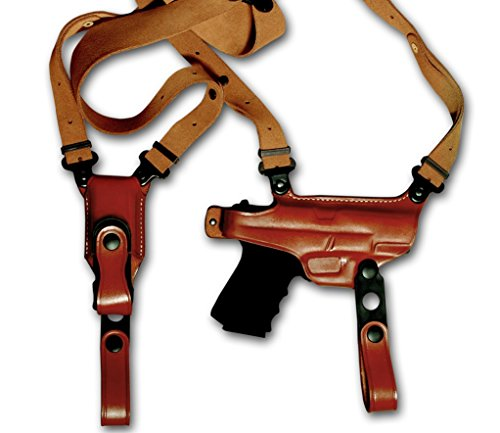 """Premium Leather Horizontal Shoulder Holster Single Mag Case Fits, Springfield XD9 XD40 XDM9 XDS 3""""BBL, 4""""BBL, 4.5""""BBL, 5""""BBL, 5.25""""BBL, Right Hand Draw, Brown Color (Springfield EMP 3""""BBL 1911 Style)"""