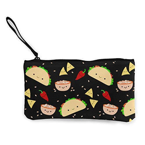Yuanmeiju Unisex Coin Pouch Taco Tuesday Party Canvas Coin Purse Cellphone Card Bag with Handle and Zipper