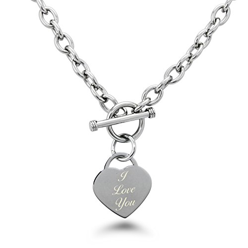 Tioneer Stainless Steel I Love You Engraved Heart Tag Toggle Necklace