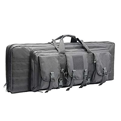 "WolfWarriorX Double Long Rifle Gun Case Bag Tactical Carbine Cases Water Dust Resistant Firearm Shotgun Bag Outdoor MOLLE Hunting Shooting Storage Transport, Available in 38"" 42""  (Gray, 38inch)"