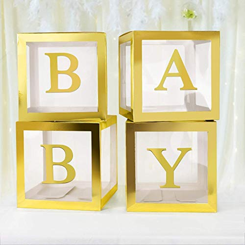 ALITREND Cajas para Baby Shower para Decoración de Fiestas, 4 Cajas de Globos Transparentes para Decoración de Bloques de Bebé con Letra para Revelar el Género Fiestas Niños y Niñas (Oro3)