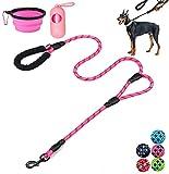 Moonpet guinzaglio per cani – 1,5 m resistente doppio manico riflettente con comoda imbottitura – guinzaglio per cani di taglia piccola, media e grande – rosa