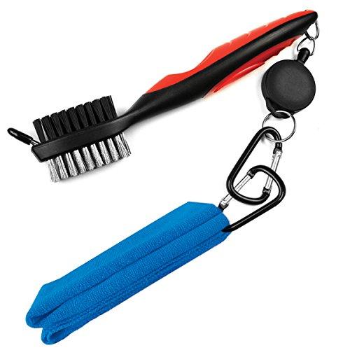 LeRan - Kit de limpieza para palos de golf, formado por cepillo retráctil y juego de toallas de microfibra 2en 1, con mosquetón de aluminio, Blue towel