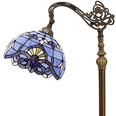 Tiffany Style Reading Floor Lamp Lavender Stained Glass Blue Purple Baroque Lampshade in 64 Inch Tall Adjustable Arched Base for Girlfriend Bedroom Living Room S003C WERFACTORY