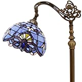 Tiffany Style Reading Floor Lamp Lighting W12H64 Inch Blue Purple Stained Glass Lavender Baroque Lampshade Antique Adjustable Arched Base S003C WERFACTORY Lamps Living Room Bedroom Beside Table Gifts