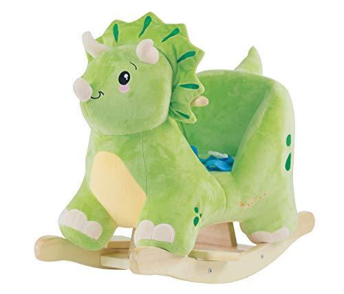 Bieco Plüsch Schaukeltier Dino Woody, 60 cm | Kinder Schaukelstuhl mit Sicherheitsgurt | Baby Schaukel | Schaukel Kleinkind | Schaukeltier Baby | Baby Schaukelwippe ab 9 Monate | Schaukelpferd Holz