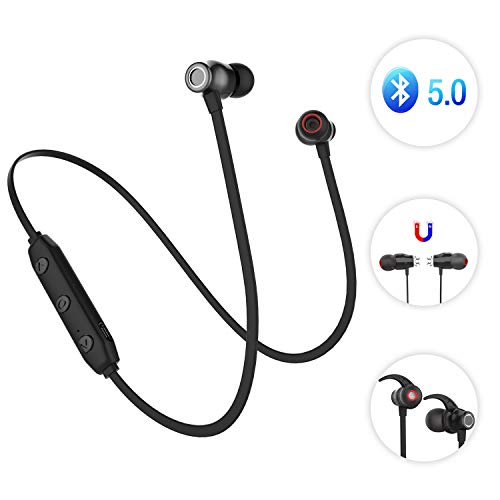 Sunvito Deporte V5.0 de Bluetooth Auricular, Ligero Nuca Sudor Auriculares Estéreo Inalámbricos con Mic para Llamadas de Manos Libres y Magnética Atracción para Android