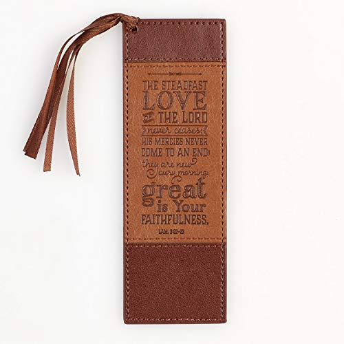 Christian Art Gifts Brown Faux Leather Bookmark | Steadfast Love - Lamentations 3:22 Bible Verse Inspirational Bookmark for Men and Women w/Satin Ribbon Tassel