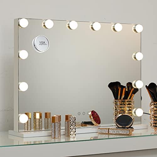 2-FNS Hollywood Spiegel mit Licht, Touch Control Schminkspiegel mit 12 LED Licht, Kosmetikspiegel mit USB für Schlafzimmer Schminktisch, 3 Lichtfarben Dimmbar, Tischplatte oder Wandhalterung, 58x46 cm
