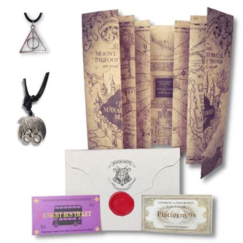 Kit Presente Harry Potter - Carta Aceitação Hogwarts + Mapa do Maroto + Colares Harry & Relíquias