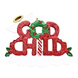 Personalized God-Child Christmas Tree Ornament 2020 - Glitter Red Word Holly Wings Halo Wreath Best World's Greatest Love Baptism Tradition Special Forever Candy Cane - Free Customization