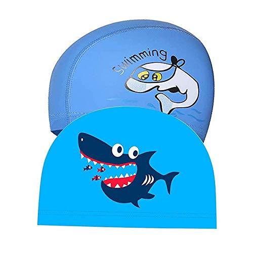 Lazz1on 2 Pezzi Cuffia da Nuoto Impermeabile per Bambini PU Cuffia da Nuoto Elastica con Rivestimento per 5-12 Anni