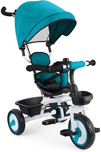 Pedal plegable y cinturón de seguridad de tres puntos, triciclo de niños multifunción, triciclo infantil,Blue
