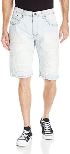 WT02 Men's Shorts Denim Destructed Heavy Ripped and Repaired
