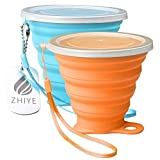 ZHIYE Collapsible Camping Cup with Lid, BPA Free Silicone Water Unbreakable Retractable Mug