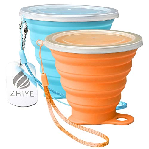 ZHIYE Collapsible Camping Cup with Lid, BPA Free Silicone Water Unbreakable Retractable Mug Portable Folding Travel Mug, Outdoor Hiking 9.5 Oz 2 packs