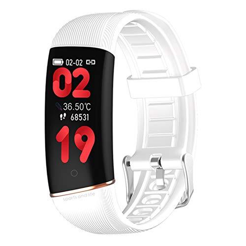 BFL E98 Medición De Temperatura De Reloj Inteligente, Rastreador De Fitness De Frecuencia Cardíaca, Podómetro, Monitoreo del Sueño, Mujeres Y Pulseras Inteligentes para Hombres,A
