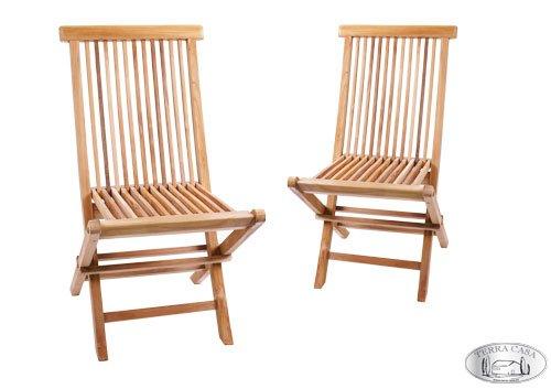 Terra Casa Gartenstuhl 2er Set Manado Teak Holz Gartenmöbel Stühle Klappstuhl Stuhl Premiumqualität