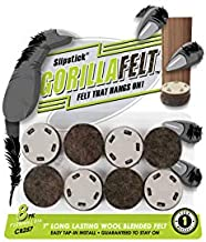GorillaFelt CB257 Chair Leg Floor Protectors/Felt Glides (Set of 8) Tap On Felt Furniture Pads Guaranteed to Stay On, 1 Inch Round Sliders