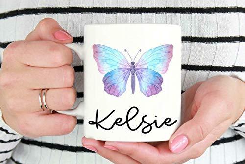 Taza de café con diseño de mariposa, regalo de mariposa, regalo para ella, 325 ml, taza de té