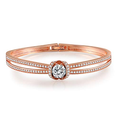 GEORGE · SMITH Cinderella Classic Silver Bangle Bracelets for Womens Rose Gold Bracelet with 5A Cubic Zirconia, Wedding Birthday Gifts for Women
