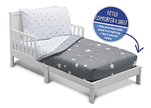 Delta Children Toddler Bedding Set | Boys 4 Piece Collection | Fitted Sheet, Flat Top Sheet w/Elastic Bottom, Fitted Comforter w/Elastic Bottom, Pillowcase, Dusty Skies | Grey