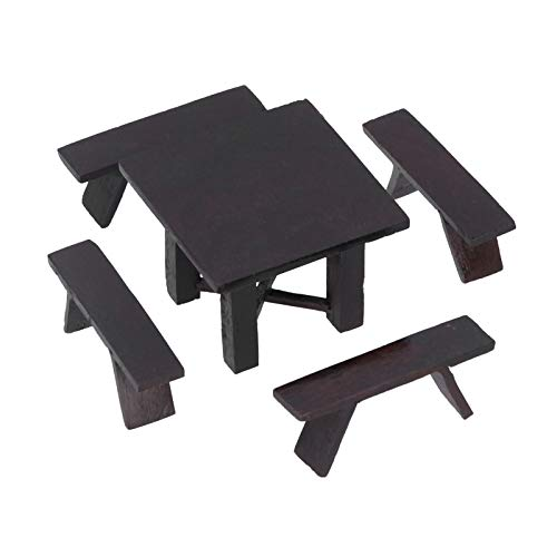 Holz Puppenhaus Möbel, Puppenhaus Tisch Stuhl Set, elegante Miniatur Baumaterialien für die Ausübung logischer Fähigkeit Kinder Kinder spielen