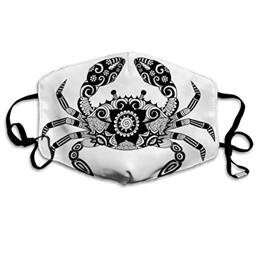 Mundschutz Anti-Staubschutz Verschiedene Verwendungszwecke Handgezeichnetes Zentangle-Krebs-Malbuch Adult des Face Covers