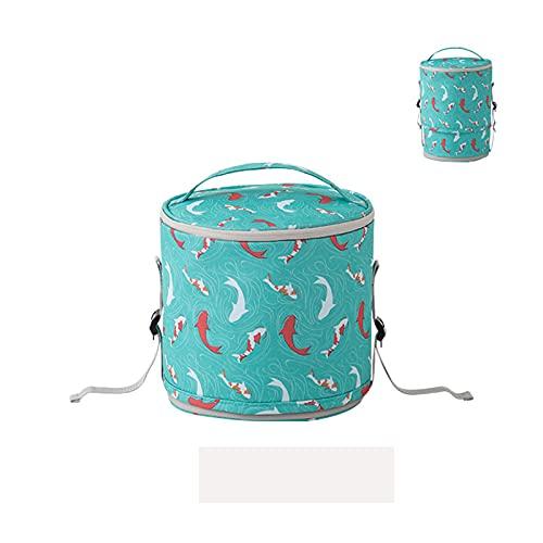 Bolsa de Almuerzo Redonda, Elegante, llevada a Mano, Bolsa de Almuerzo aislada para Adultos y niños, tamaño Ajustable, Aislamiento térmico, portátil, 7 Colores,Green