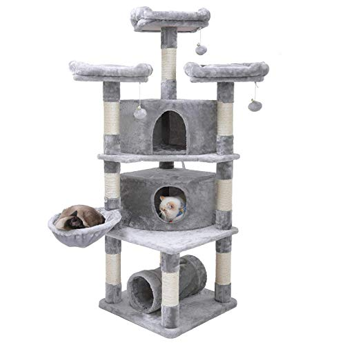 "Hey-bro 65"" Extra Large Multi-Level Cat Tree Condo Furniture with Sisal-Covered Scratching Posts, 2 Bigger Plush Condos, Perch Hammock for Kittens, Cats and Pets, Light Gray MPJ030W"